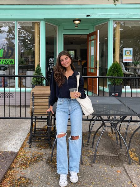 Half zip + distressed jeans ☕️ @abercrombie #abercrombiepartner #abercrombiestyle #ad  . . . .  #vivianewears   #LTKunder100 #LTKstyletip #LTKunder50