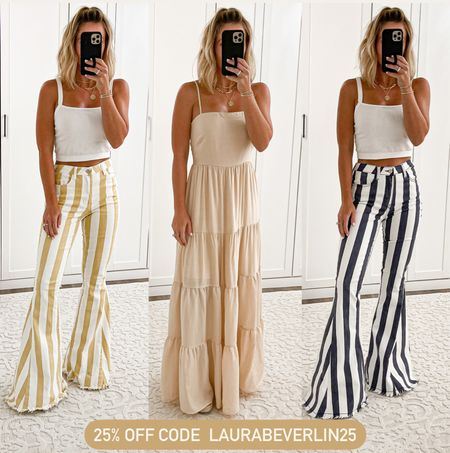 On sale 25% off today Flare jeans size small Maxi dress size small Clear wedges size 7  #laurabeverlin   #LTKsalealert #LTKunder50 #LTKunder100