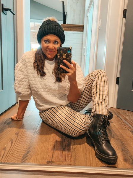 Combat boots. Target style. Target finds. Target fashion. Balloon sleeve top. Plaid pants. Beanie. Pom Pom beanie. Fall outfit. Black booties.   #LTKshoecrush #LTKstyletip #LTKunder100