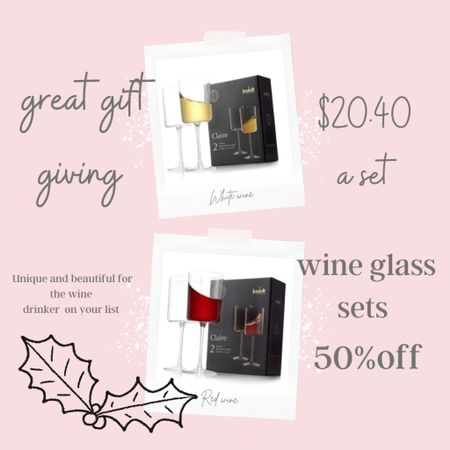 Gift giving… For the Wine lover on your list🍷 Unique and beautiful wine glasses!  On major sale $20 For two! . #winover #barcart .    #LTKhome #LTKsalealert #LTKGiftGuide