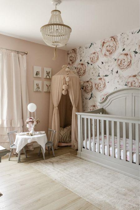 Nursery dreams are made of this 😍🤍  Baby nursery, pink nursery, wallpaper, pink curtains  #LTKfamily #LTKhome #LTKbaby