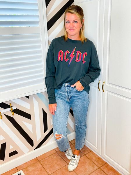 This long sleeve graphic tee is cropped and so cute. It is TTS   These jeans are TTS   These Golden goose sneakers are sold out but linked other styles.      #LTKunder100 #LTKshoecrush #LTKstyletip