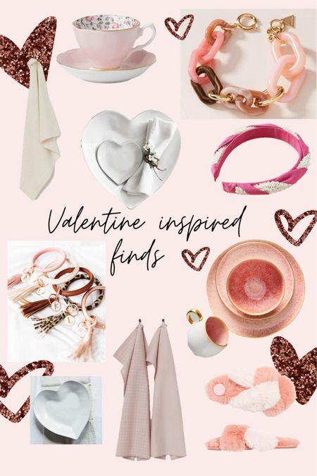 Valentine inspired finds! Cute plates and pink dish cloths, and cosy slippers!     Key ring - bracelet key rings- dish towel - headbands - bracelet - heart shape - heart plates - pink plates - floral tea cup - tea cup - tea set   #LTKVDay #StayHomeWithLTK #LTKSeasonal