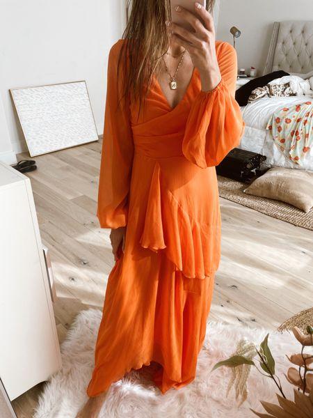 Love this one! Wearing a 2. Wish I got a 4. Orange dress.   #LTKstyletip #LTKunder100 #LTKwedding