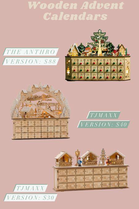 Wooden Advent Calendar Anthro Dupes!   #LTKhome #LTKunder100 #LTKSeasonal