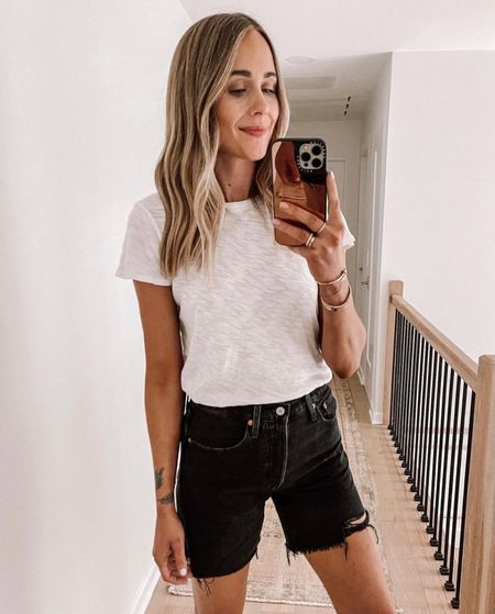 My favorite black jean shorts are back in stock! They are so flattering and fit great! Size up - they run snug. (White tshirt - small). #casualoutfit #weekend #levis #denimshorts #nordstrom #fashionjackson #liketkit  #LTKstyletip #LTKunder100 #LTKunder50