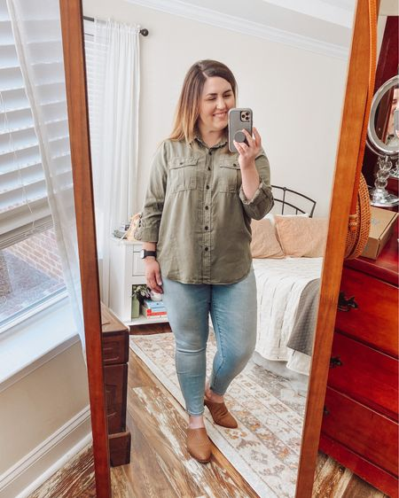 Ready for the weekend!  I replaced my old olive utility shirt and sized up so it will go well with leggings.  Not sure how I feel about it with these jeans.  What do you think?  #LTKSeasonal #LTKfit