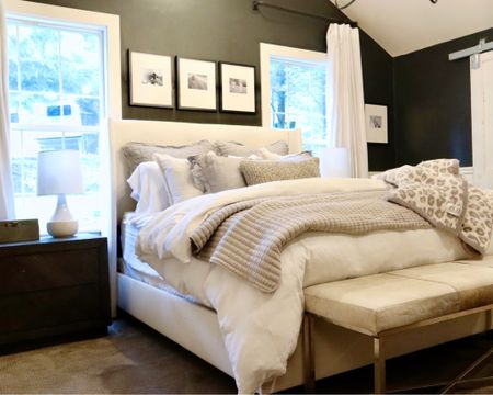 Cozy bed combination of fleece barefoot dreams style blankets, quilted shams, chunky wool, linen duvet cover, and high quality sheets! Shop our bed here. 🖤 http://liketk.it/3g9sE #liketkit @liketoknow.it