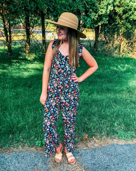You don't have to go to the beach to rock a floppy hat! I love wearing them for outdoor lunches or wineries! Similar affordable options linked here! Limited sizes of jumpsuit left, but linked it as well! Sizing: jumpsuit tts (or size up for petite), shoes- size down .5 Sales: jumpsuit 50% off!  http://liketk.it/2R89v #liketkit @liketoknow.it #LTKunder50 #LTKstyletip #LTKunder100