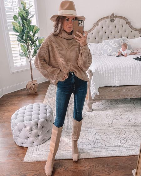 Amazon sweater! 🍁 Amazon fall outfit, oversized sweater, tan sweater, Good American denim, cmcoving, Caitlin Covington, Sam Edelman boots, knee high boots suede boots, fall boots, fall sweater, fall outfit, wool felt hat, Amazon fashion, Amazon finds  #LTKunder100 #LTKunder50 #LTKSeasonal