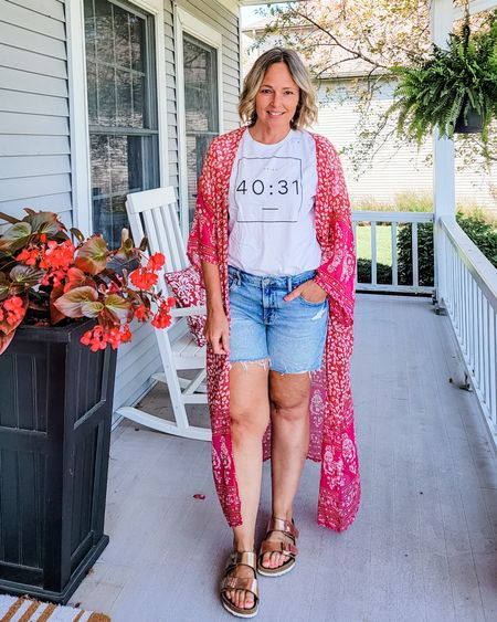 Casual everyday weekend Sunday Christian teacher mom outfit featuring a Bible verse tee, a long boho floral kimono, cutoff denim shorts, and Birkenstocks #mom #Christian #bibleverse #kimono #isaiah4031 #denimshorts #Sunday #weekend #Casual #Petite #lifestyle http://liketk.it/3mImE @liketoknow.it #liketkit