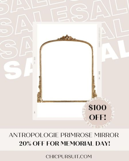 SALE ALERT! Anthropologie's Primrose Mirror in gold is $100 off today! ✨✨ #LTKsalealert #LTKSpringSale #LTKhome @liketoknow.it.home http://liketk.it/3gm5Q @liketoknow.it #liketkit