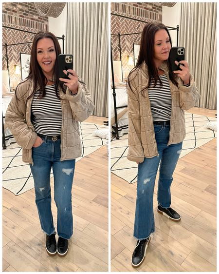 Casual date night -softest free people jacket & dupe on sale code: 21off for 21% off in regular & plus size.  striped long sleeve shirt (staple piece) & fav flair jeans on sale both 40% off code: GOBIG at checkout. Gucci belt. Fav leather platform sneakers . Fall outfit inspo.  #jcrew #freepwople #forever21   #LTKshoecrush #LTKSeasonal #LTKstyletip
