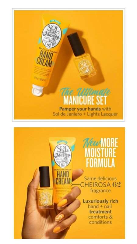 Lights Lacquer x Sol de Janeiro Set | Online Exclusive  Brazilian Touch™ Hand Cream | Heart & SOL Seven-Free Nail Polish Get ready to pamper your hands the Sol de Janeiro and Lights Lacquer way! The two brands teamed up to create the ultimate manicure set inclusive of Sol de Janeiro's newly reformulated Brazilian Touch™ Hand Cream and an exclusive Lights Lacquer shade 'Heart & SOL', a rich, tangy yellow that embodies Sol de Janeiro's iconic, sunny hue.   http://liketk.it/3qrWI @liketoknow.it #liketkit #ltkgiftguide #soldejaneiro