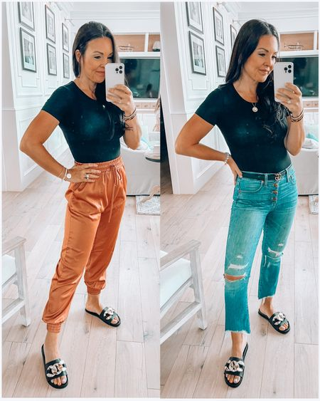 Date night- same body suit same slides- which outfit do you like better?!  Amazon finds  Amazon fashion  Steve Madden slides   #LTKstyletip #LTKunder50