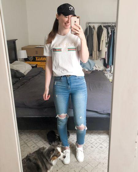 http://liketk.it/3jWCg #liketkit @liketoknow.it casual outfit, coffee tee, white sneakers