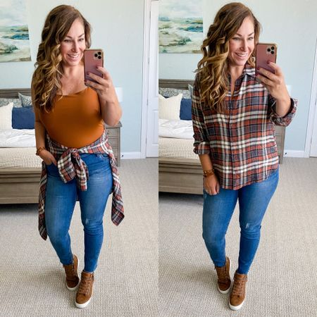 Amazon bodysuit, XL // Nordstrom Plaid Shirt, tts // Nordstrom Jeans, tts 12 // Steve Madden Wedge Sneakers, size up 1/2  Nordstrom Fall Style Casual Fall Outfit Plaid Shirt Wedge Sneakers  #LTKshoecrush #LTKstyletip #LTKSeasonal