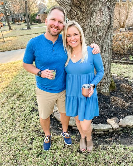 Accidentally matching with this hunky man, and I ain't mad about it! I'm in love with this dress - it's super comfy, flattering, and a steal!    http://liketk.it/39Vjw #liketkit @liketoknow.it #LTKunder50 #LTKsalealert #StayHomeWithLTK