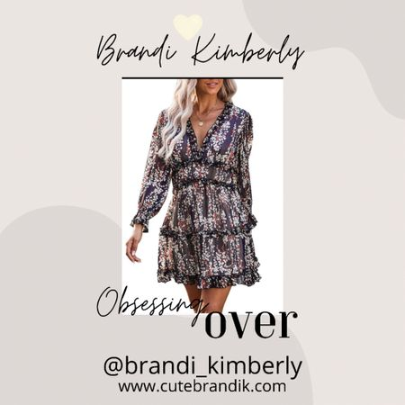 This cute Floral flowy dress coming in other colors and it's has a plunge neckline.  So cute for fall   #LTKSeasonal #LTKstyletip #LTKbacktoschool
