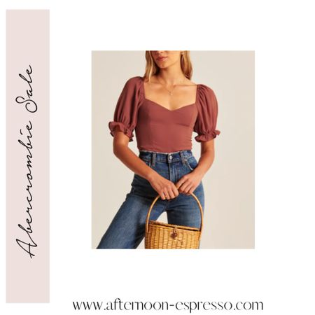 The perfect fall top does exist! This sweetheart puff sleeve blouse would be so good for a date night! It's on sale right now, too! Abercrombie sale, fall clothing, puff sleeve