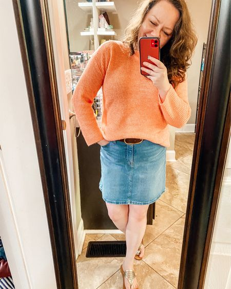 Spring transition outfit with sweater and denim skirt  Shop your screenshot of this pic with the LIKEtoKNOW.it shopping app @liketoknow.it http://liketk.it/3f75b #liketkit #LTKshoecrush #LTKcurves #LTKunder50