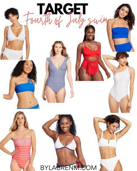 Target Forth of July Swimsuits. Summer swim. 4th of July. One piece swimsuits. Bikinis. Red, white, and blue. #liketkit @liketoknow.it http://liketk.it/3gdRr #LTKunder50 #target #swim #4thofjuly #fourthofjuly #summer #pool #beach #swimsuits #onepieceswimsuits #bikinis