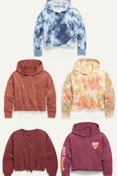 Old Navy Sweatshirt sale 50% off. Girls fall fashion. Loungewear.  #LTKunder50 #LTKkids #LTKsalealert