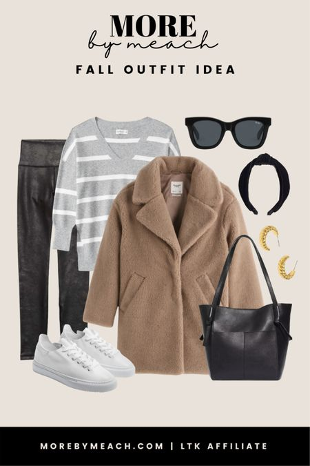 A cute neutral fall outfit featuring a leggings friendly sweater, teddy coat, faux leather leggings, knitted headband, plain white sneakers, and a black leather tote bag. Items are from Aerie, Abercrombie, Quay, and Madewell.   #LTKstyletip #LTKcurves #LTKSale