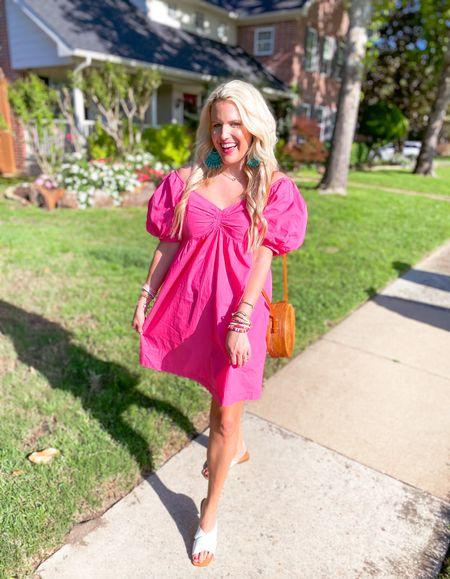 Pink puff sleeve dress size L Runs big so size down  Linked other link dresses  Amazon basket purse  White sandals TTS  Pink dress, date night outfit, summer dress, vacation dress   #LTKunder50 #LTKunder100 #LTKstyletip