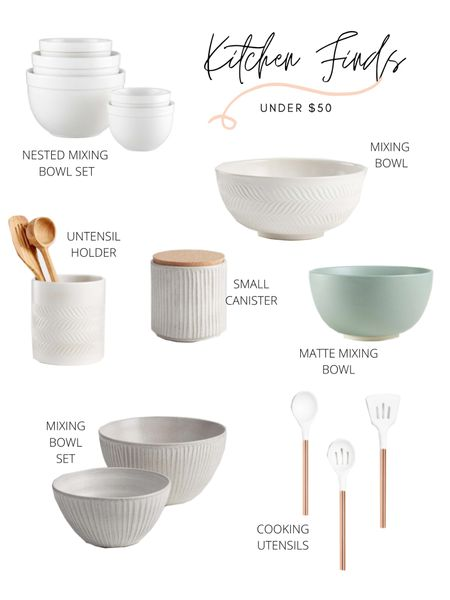 Crate&Barrel is one of my favorite to shop all things kitchen. These kitchen items are all under $50! A few mixing bowl options, utensil holder, canister and cooking utensils! Shop these kitchen finds: http://liketk.it/3ask8 #liketkit @liketoknow.it @liketoknow.it.home #LTKhome #LTKunder50 #StayHomeWithLTK