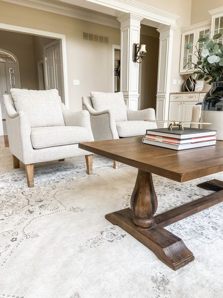 These target accent chairs perfectly compliment the wood trestle coffee table.  Accent chairs, coffee table, trestle table, living room furniture, living room decor, neutral decor, affordable decor, wood coffee table  #LTKhome