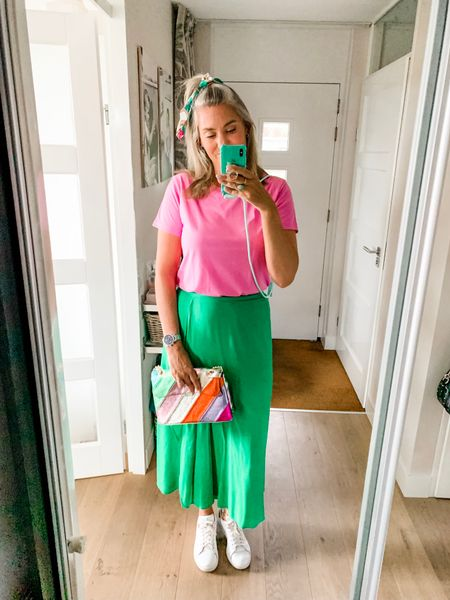 Outfits of the week-Monday   How good are pink and green together?!  The green skirt is from the Ling Tall Sally sale and I am wearing a UK10. Wearing a L in the pink tee. I sized slightly up in the sneakers to a 41 1/3 (normally a 41).    #LTKeurope #LTKunder50 #LTKworkwear