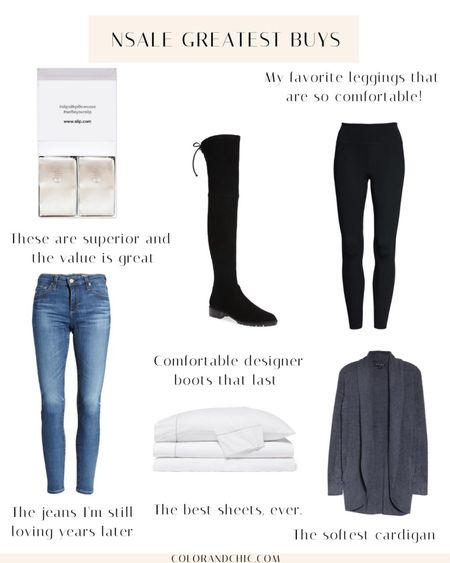 Greatest buys from the NSale including my favorite skinny jeans of all time, Black over the knee boots, slip pillowcases, favorite bedsheets, Nike one Lux leggings I wear all the time, and Barefoot dreams cardigan that's perfect for fall and work from home.    #LTKsalealert #LTKshoecrush #LTKstyletip
