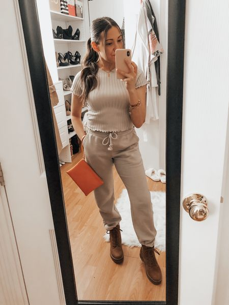 Lounge. Sweat pants. Ribbed Knit. Neutrals. Top fits TTS and snug but comfortable. Wearing S. Pants fit loose and super cozy. Wearing a XS. Size down if you want it more fitted. ✨   #LTKunder100 #LTKstyletip