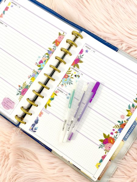 This week's journal layout! Cheerful Florals! 🌺🌸💐🌷🌹This is the big size happy planner in horizontal layout! Linking cute planners, stickers and supplies in my bio   #LTKhome #LTKworkwear #LTKstyletip