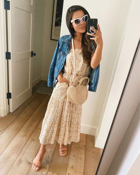 Sunday style in an effortless floral dress, denim jacket, comfy sandals and fun sunglasses @liketoknow.it #liketkit http://liketk.it/3gWRR #LTKstyletip #LTKtravel #LTKsalealert