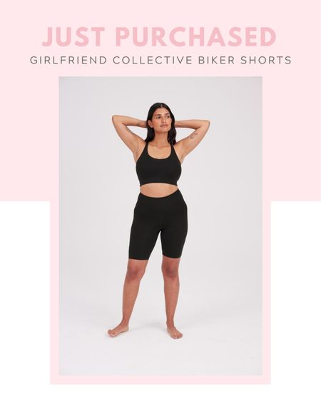 Just purchased: girlfriend collective Black FLOAT High-Rise Bike Short, on sale now, under $50, work out, fitness, exercise, casual outfit, comfy clothes, loungewear, leisure, matching sports bra, matching set  #LTKunder50 #LTKsalealert #LTKfit