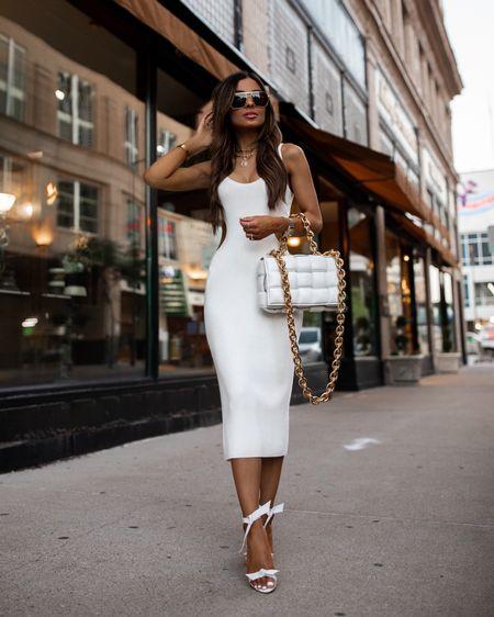 Abercrombie white knit dress wearing an XXS Bottega Veneta The Chain Cassette bag Alexandre Birman white heels  Bottega Veneta Sunglasses  http://liketk.it/3ifDG #liketkit @liketoknow.it #LTKunder100 #LTKstyletip #LTKworkwear