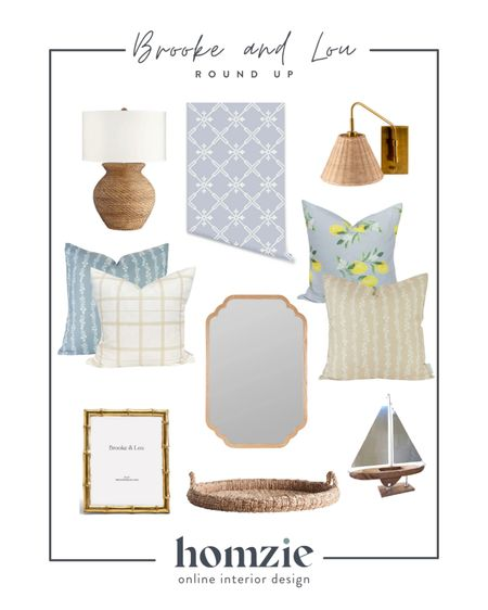Our fan girl Friday is all about Brooke & Lou! We love this coastal feminine style   Brook and Lou, Bria hammel, floral pillow, coastal lamp, woven sconce, tray, decorative mirror, bamboo frame, decorative objects   #LTKhome