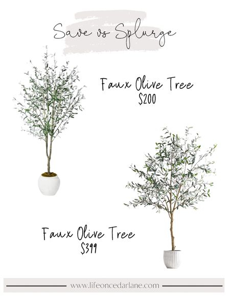 Save and splurge options for a faux olive tree!! Love these for a living room or even bedroom corner!! The save option is so pretty in person, and can't beat that price!   #olivetree #fauxtree #livingroomdecor  #LTKhome
