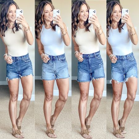 Sale! Save 20% on everything Abercrombie denim shorts • High rise mom shorts Regular and 4 inch length. I am wearing a size 25 in all of these shorts. Abercrombie bodysuit, I tested both the extra small and small and I went with the extra small. #ltkday  #LTKstyletip #LTKunder50 #LTKsalealert