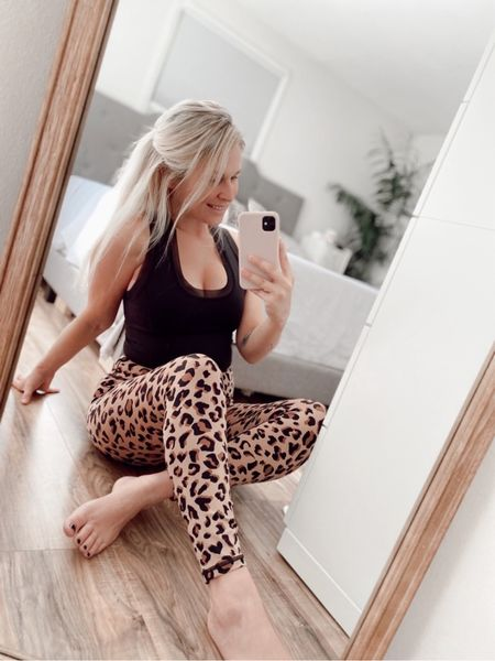 Must have animal print leggings and tank from IVLCOLLECTIVE! Even with my baby bump they are so comfy!  #LTKstyletip #LTKfit #LTKbump
