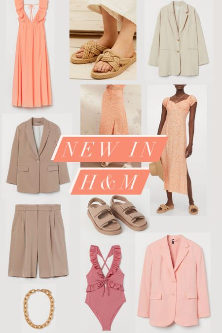 @liketoknow.it #liketkit http://liketk.it/3fI8b new in at H&M oversize blazer, longline city short, frill swimsuit, roe sandals, peach floral midi dress