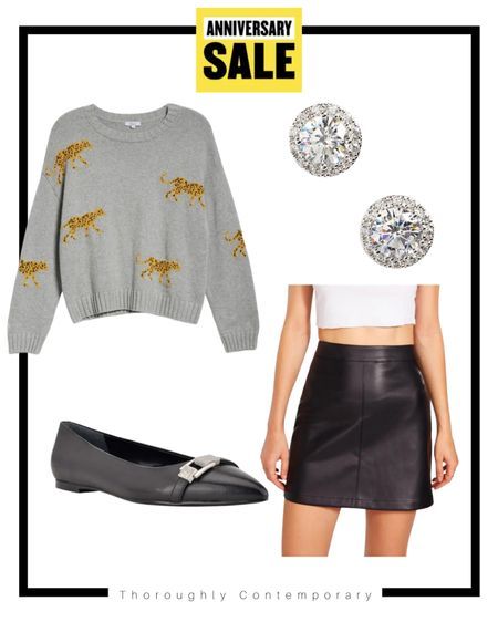 #nsale outfit idea! This cheetah sweater is so fun. Pair it with a faux leather skirt, matching flats, and sparkly stud earrings for a fun fall look!  Fall outfit idea   fall sweater   leather skirt   Nordstrom Anniversary Sale   Nordstrom sale   classic black flats   Nordstrom fall outfit   #LTKSeasonal #LTKsalealert