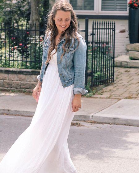 White summer dress paired with a denim jacket. @liketoknow.it http://liketk.it/2D1ZT #liketkit