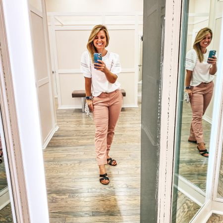 Pink and white are good any time of year! Loving these pants and this top from @loft ! These pants fit so good!   #loft #pants #whitetop #fallstyle #teacherstyle   #LTKstyletip #LTKcurves #LTKsalealert