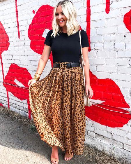 Black bodysuit and leopard midi skirt is 60% off!! http://liketk.it/2DQ3l @liketoknow.it #liketkit #LTKsalealert