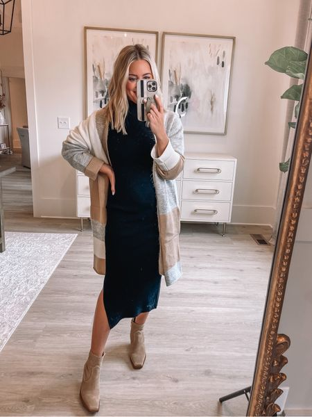 Wearing small in dress & cardigan (Alexa20 for discount) // boots true to size // fall outfit // date night // black dress // bump friendly //   #LTKstyletip #LTKshoecrush #LTKunder50