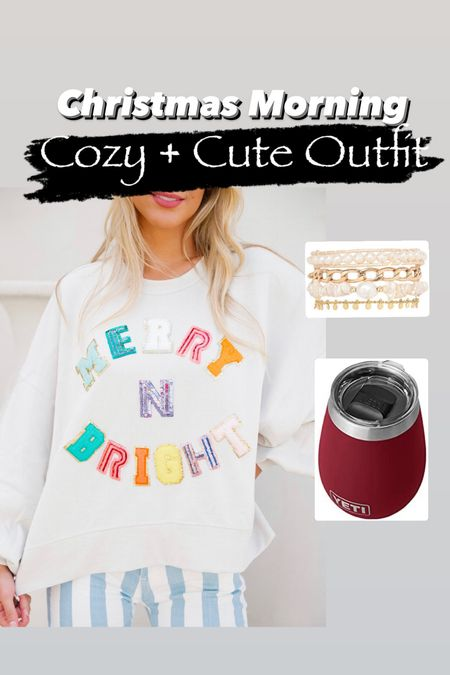 Christmas morning outfit ideas Yeti tumbler Merry and bright pullover Victoria Emerson bracelet   #LTKunder100 #LTKstyletip #LTKHoliday