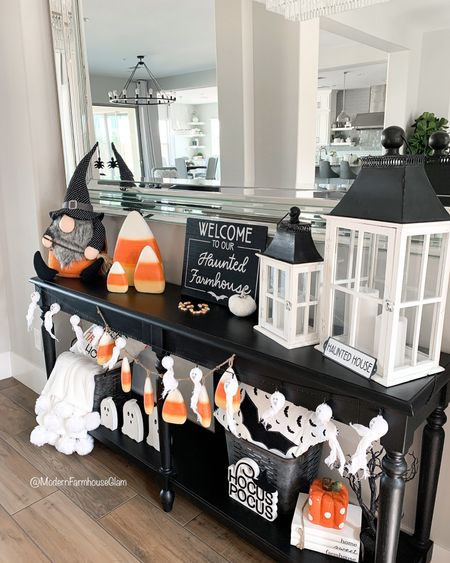 This was one of my favorite Halloween set-ups from last year!🧡💛🤍 I like to switch up my theme each year, so this year I have a softer pumpkin look. Last year's Halloween theme was so much fun though, right? Do you switch up your decor each year or stick with your favorites?  The giant candy corns, candy corn garland (almost sold out), and bat pillow are available on my website. The three wooden ghosts sold out. www.modernfarmhouseglam.com and link in bio.    #halloweendecor #halloween #halloweenparty #halloweeneveryday #halloweendecorations #halloweenhome #halloween2021 #halloweenideas #spookyseason #candycorn #falldecor #falldecorations #modernfarmhouse  #modernfarmhouseglam #bhghome #homdecor #fallforhomedecor #fallisintheair #interiordesigninspo #hocuspocus #halloweeninspo #halloweencostumes #entrywaydecor #farmhousefalldecor #farmhouseentryway  Lighting chandelier world market furniture home decor   #LTKSeasonal #LTKHoliday #LTKhome